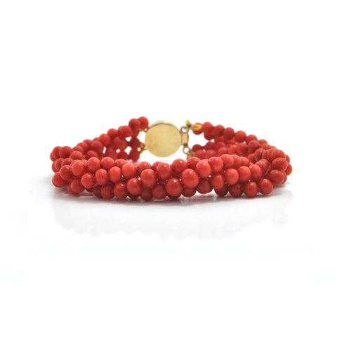 Four Strand Graduated Coral Bead Bracelet  + Montreal Estate Jewelers