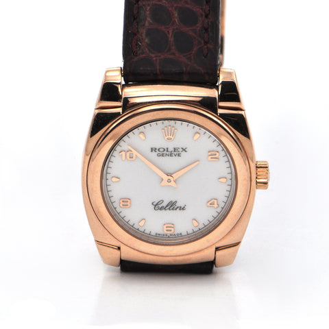Vintage 18K Rose Gold Rolex Cellini Watch with Leather Strap + Montreal Estate Jewelers