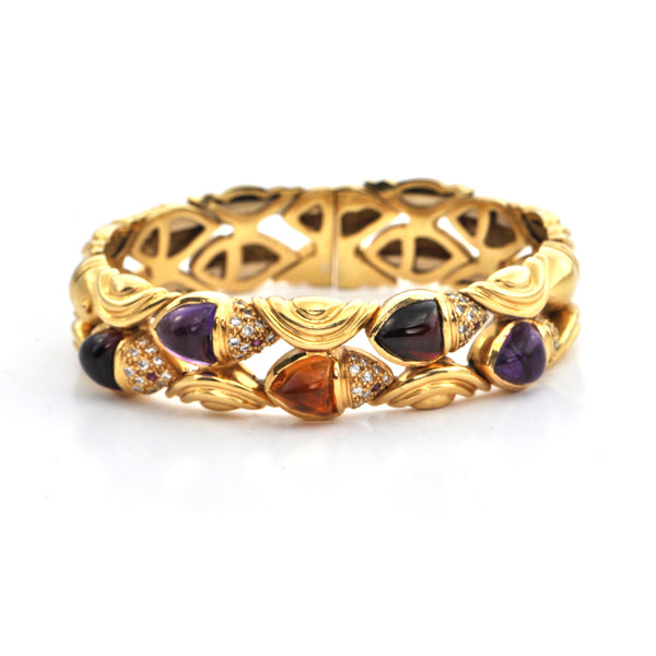 Italian Vintage Multi Gem Flexible Cuff 18k gold bracelet , Estate jeweller montreal