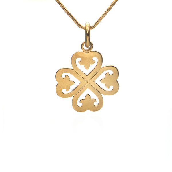 O. J. Perrin 18K Yellow Gold Four Leaf Clover Pendant + Montreal Estate Jewelers