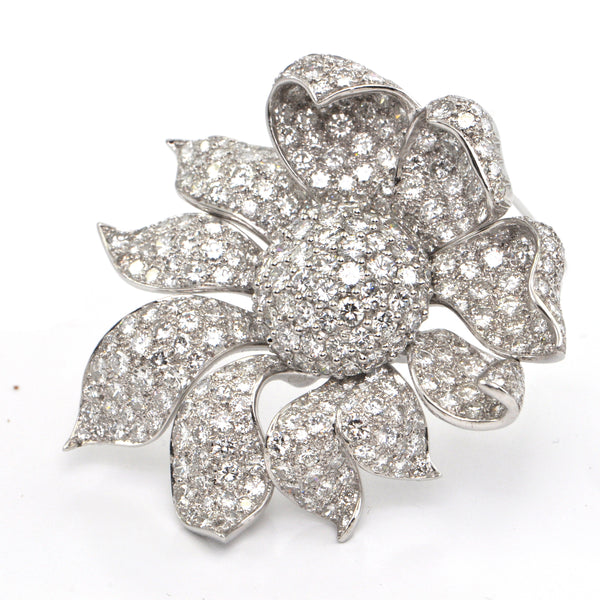 22.0 ct Flower Diamond White Gold Brooch/Pendant - Westmount, Montreal - estate jewellers