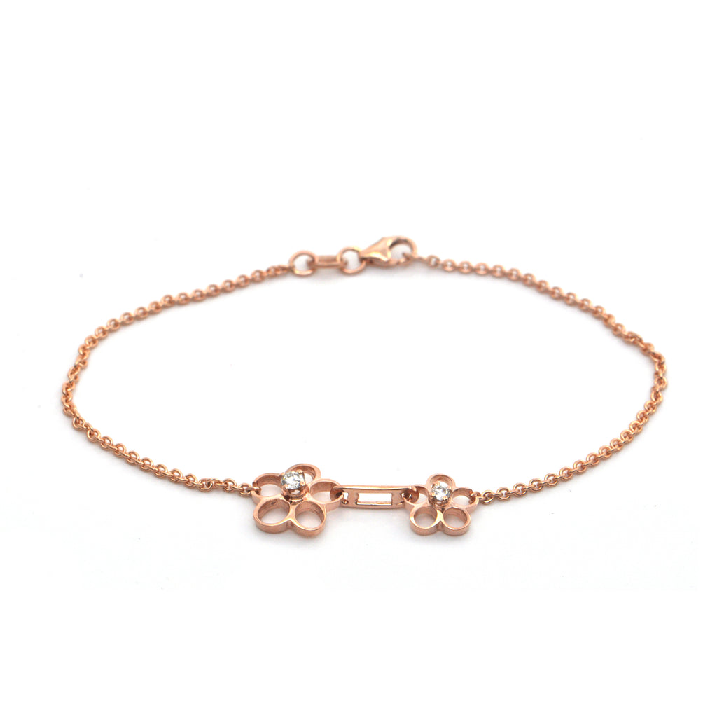 0.11CT Diamond and 18K Rose Gold Daisy Bracelet + Montreal Estate Jewelers