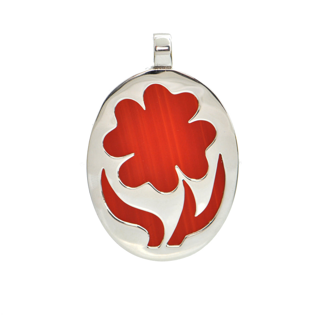 Israeli Carnelian and Sterling Silver Flower Pendant C.1960 + Montreal Estate Jewelers