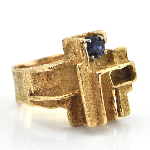 Vintage Geometric 18K Yellow Gold and 0.73CT Sapphire Ring + Montreal Estate Jewelers