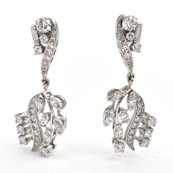 3.2 ct Vintage Diamond Drop Earrings , montreal estate jewellers