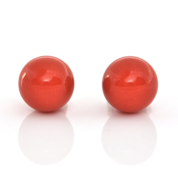Mediterranean 6.8mm Red Coral and 18K White Gold Stud Earrings + Montreal Estate Jeweler