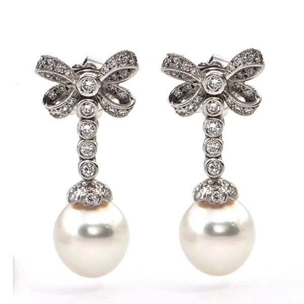 18K Vintage South Sea Pearl Drop & Diamond Bow Earrings - Westmount, Montreal, Quebec