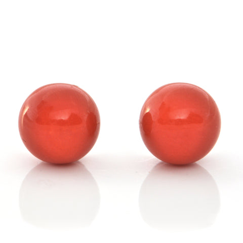 Vintage 10.4mm Red Coral and 18K White Gold Stud Earrings + Montreal Estate Jewelers