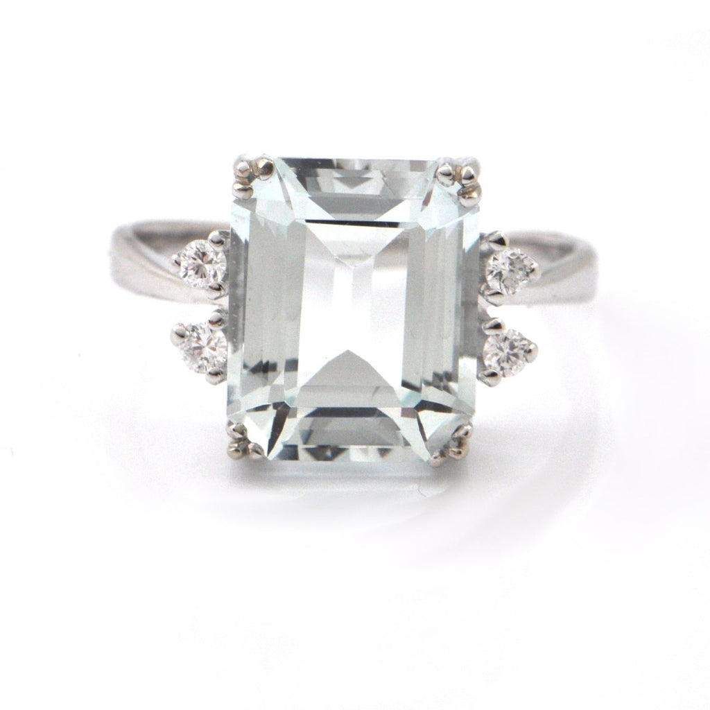 Vintage 5.23CT Aquamarine and 0.12CT Diamond 14K White Gold Ring + Montreal Estate Jewelers
