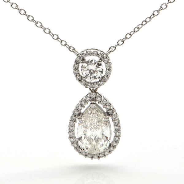 Pear Shaped Diamond Halo Pendant Necklace + Montreal Estate Jewelry