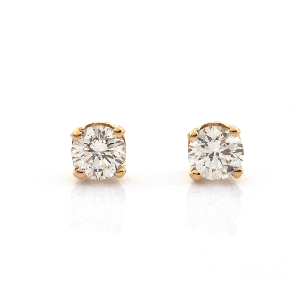0.61CT Diamond and 18K Yellow Gold Stud Earrings + Montreal Estate Jewelers