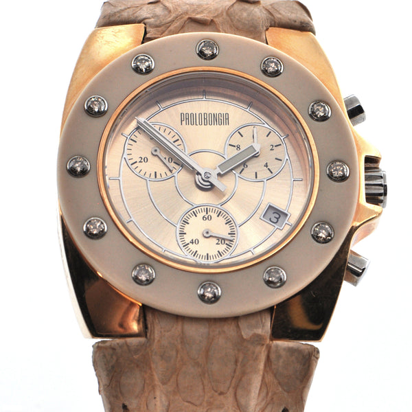Vintage Limited Edition Paolo Bongia 'Rueda' Chronograph Stainless Steel Watch with Diamonds + Montreal Estate Jewelers