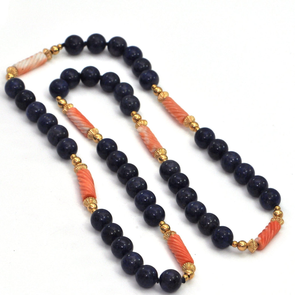 Vintage Coral, Lapis Lazuli & 14k Gold Bead Necklace , montreal estate jewelers