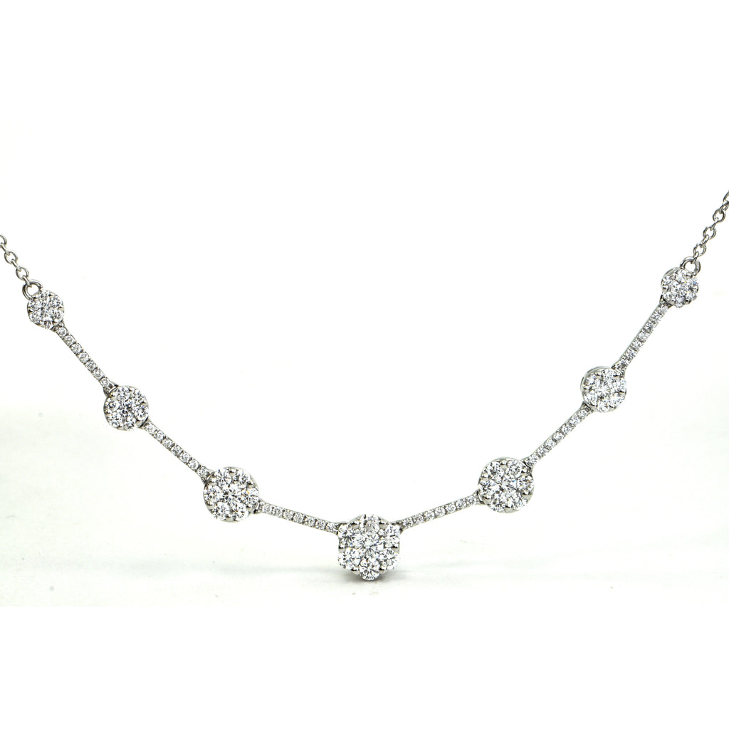 2.0 ct Diamond station necklace Illusion setting Circa 1980 - Montreal estate jewellers