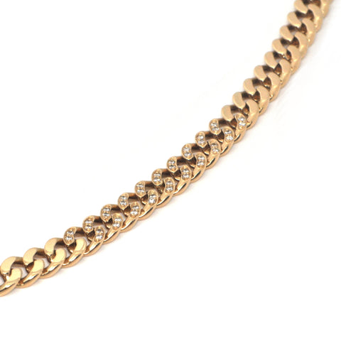 Italian 0.40CT Diamond and 18K Yellow Gold Curb Link Necklace + Montreal Estate Jewelers