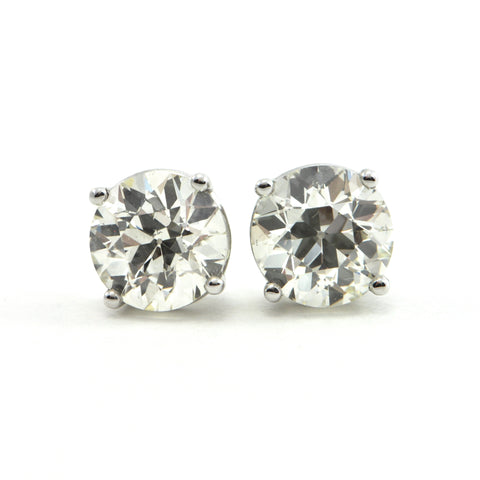 2.76 ct Diamond Stud Old European cut Earrings - GIA certified  - MONTREAL estate jewellers
