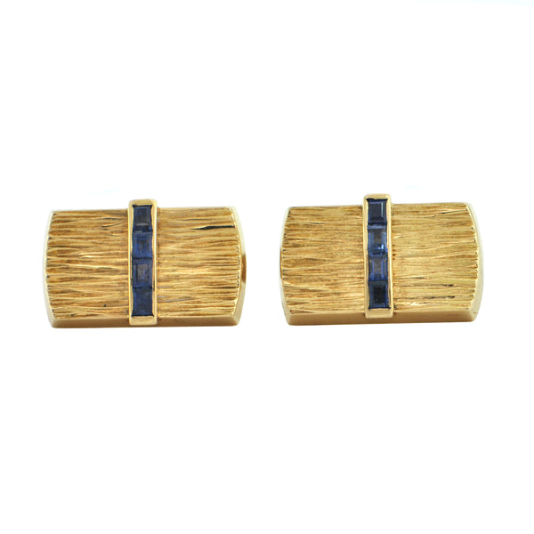 PAASH Sapphire 18k Yellow Gold Cufflinks + Montreal Estate Jewelers
