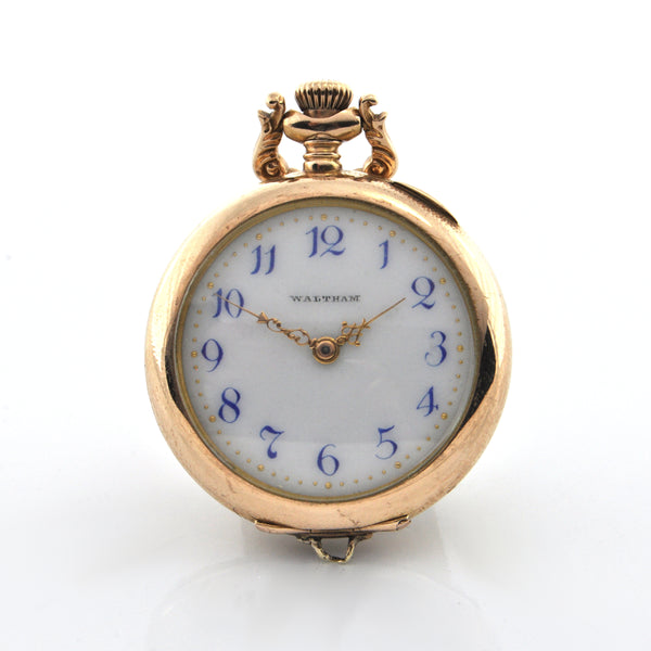 Vintage 14K Yellow Gold Waltham Pocket Watch C.1901 + Montreal Estate Jewelers