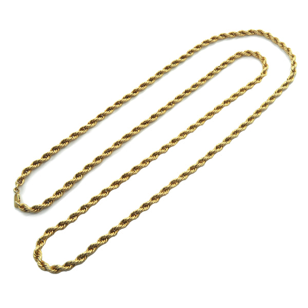 French 18k Yellow Gold Rope Chain Necklace + Montreal Estate Jewelers