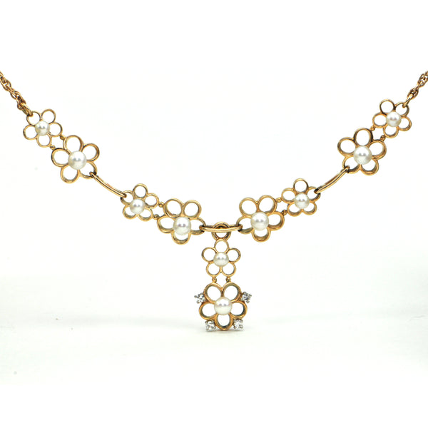 Pearl and Diamond flower necklace Circa 1950 - Montreal Estate Jewellers