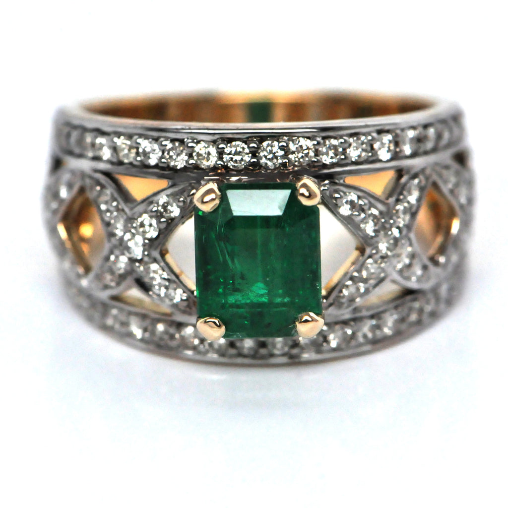 14K Emerald & Diamond Band