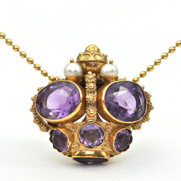 Antique Amethyst and Pearl 18K Gold Pendant C.1890 + Montreal Estate Jewelers