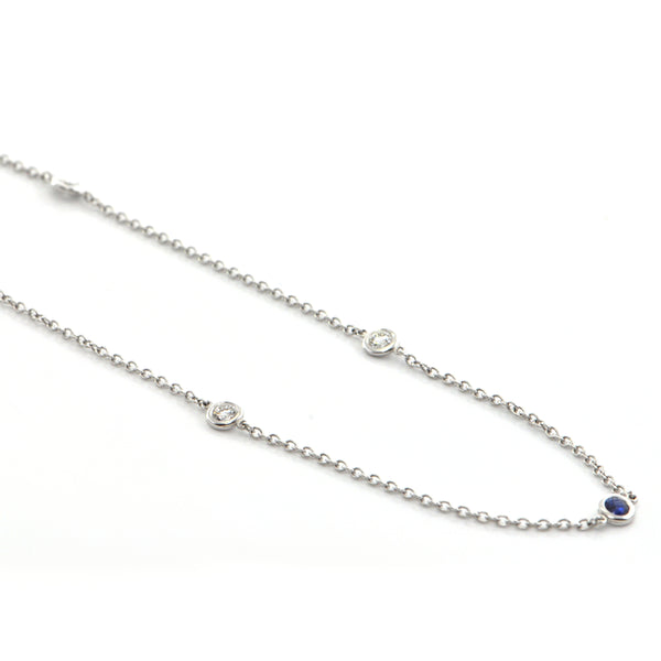 雏菊独家 18K  白金  1.0CT  钻石  and 0.65CT  蓝宝石  Station Necklace + Montreal Estate Jewelers