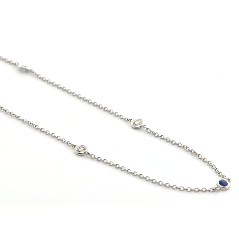 Daisy Exclusive 18K White Gold 1.0CT Diamond and 0.65CT Sapphire Station Necklace + Montreal Estate Jewelers