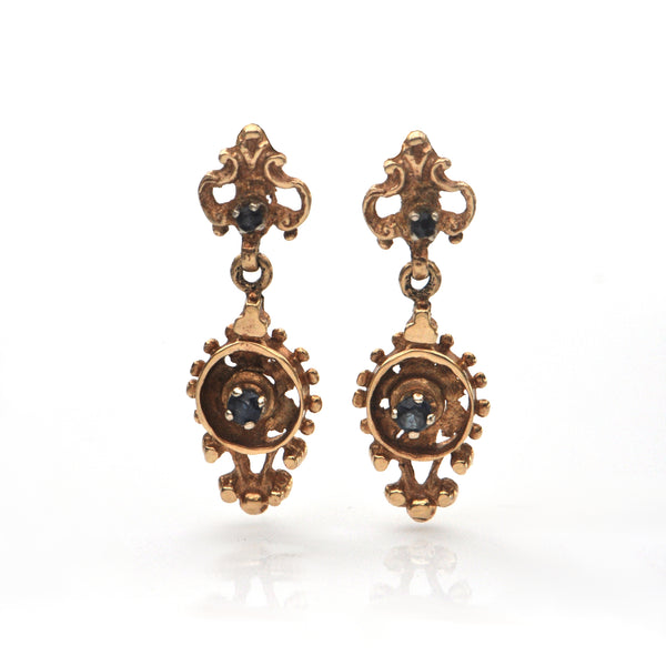 Vintage 14K Yellow Gold and Sapphire Drop Earrings + Montreal Estate Jewelers