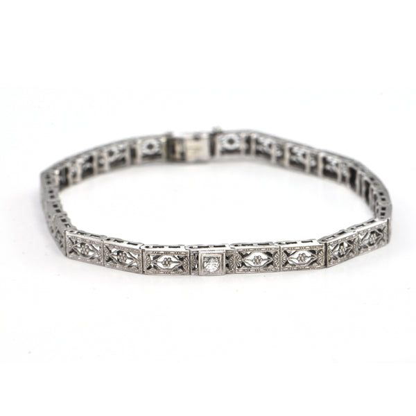 Antique Belais 10k White gold bracelet Circa 1900, montreal estate jewellers