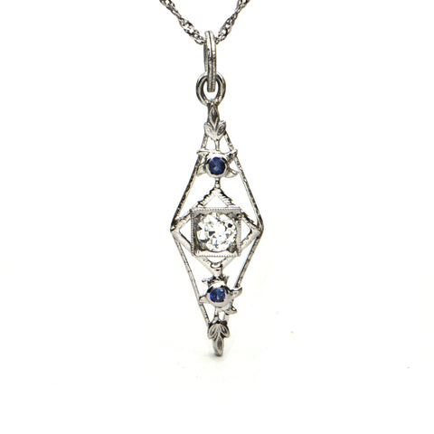 Edwardian 0.23ct Diamond and Sapphire Pendant Circa 1910 - montreal estate jewellers
