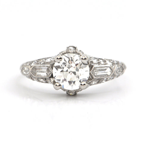1.13CT Round Transitional Cut Diamond and Platinum Ring C.1930 - GIA certified + Montreal Estate Jewelers