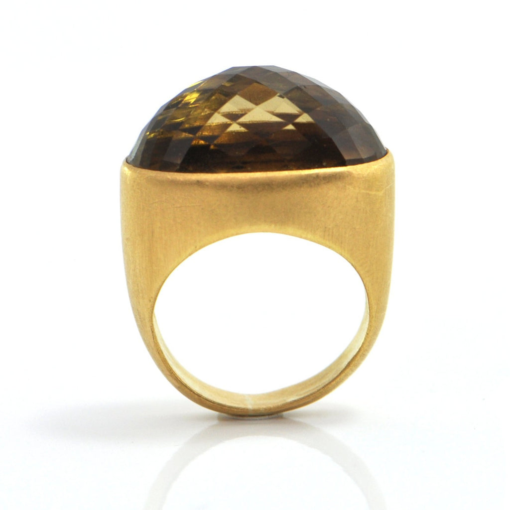 26ct checkerboard cut Citrine 18K Yellow Gold Ring + Montreal Estate Jewelers