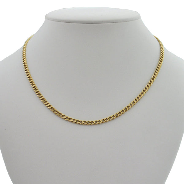 Italian 18K Yellow Gold Flat Curb Link Necklace + Montreal Estate Jewelers