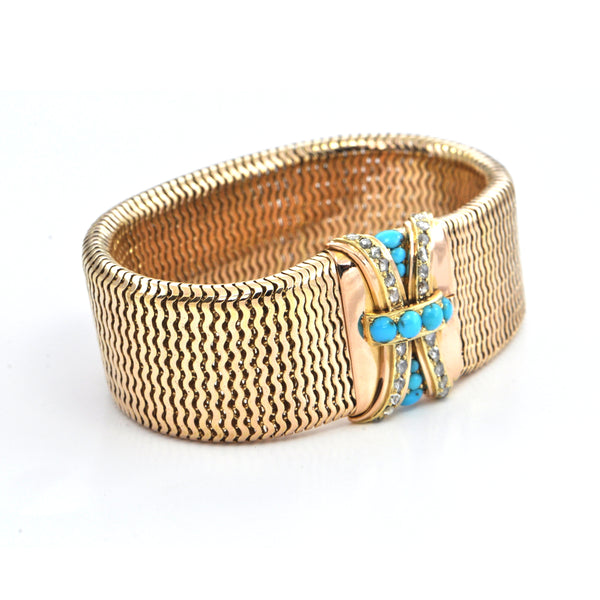 Antique Polish Diamond and Turquoise 18k gold Bracelet Circa 1850, montreal estate jewellers