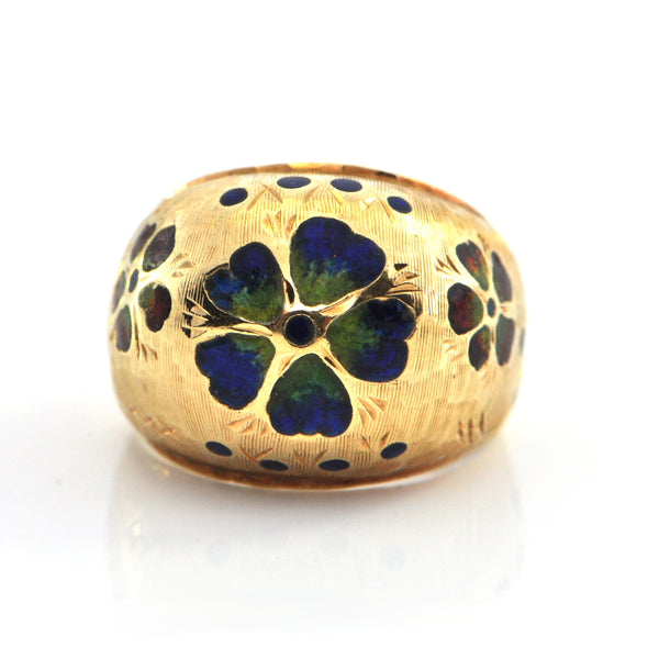 Vintage 14K Yellow Gold and Flower Enamel Ring + Montreal Estate Jewelers