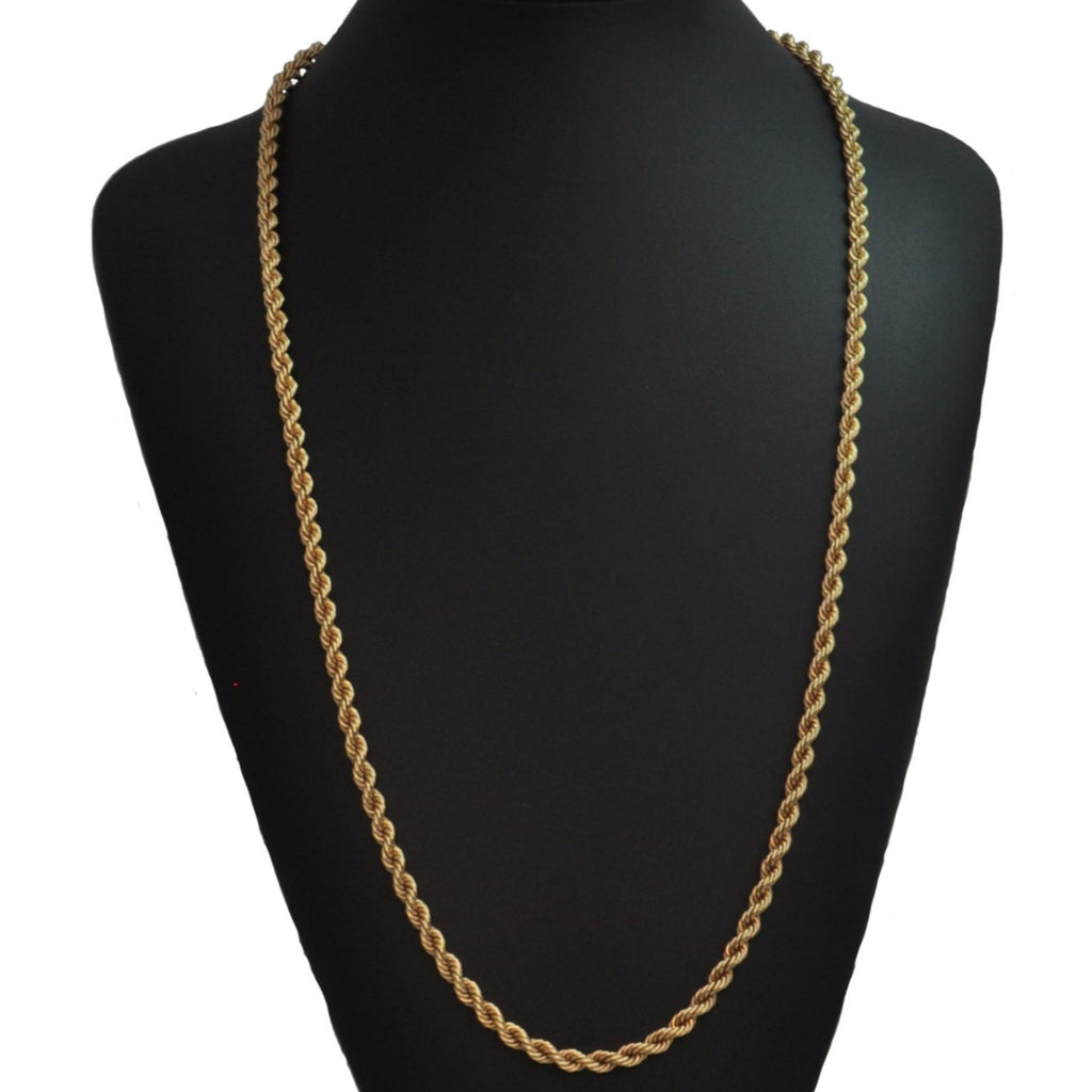 18K Yellow Gold Rope Link Necklace 30