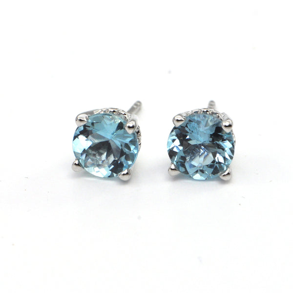2.3CT Aquamarine Stud Earrings, montreal estate jeweller