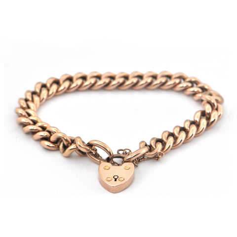 Antique English 15K Rose Gold Link Bracelet with Heart Closure C.1899 + Montreal Estate Jewelers