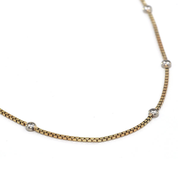 Vintage 0.50CT Diamond and 14K Yellow Gold Box Chain Station Necklace + Montreal Estate Jewelers