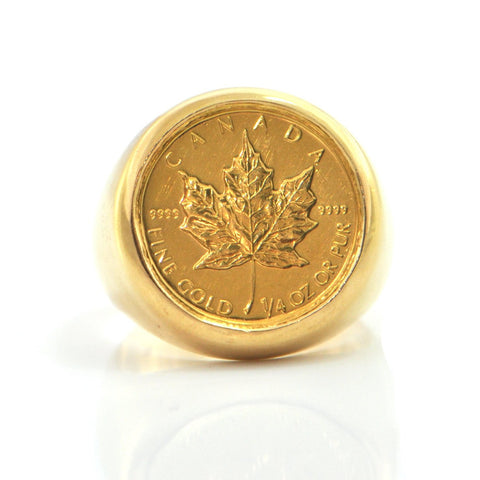 Canada Maple Leaf 1/4 oz Gold Coin Set in 18K Yellow Gold Ring + Montreal Estate Jewelers