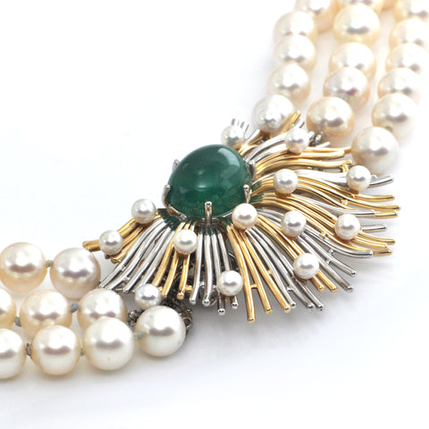 Retro Three Strand Pearl Necklace with Platinum and 18K Yellow Gold 11CT Emerald and Seed Pearl Clasp C.1950 + Montreal Estate Jewelers