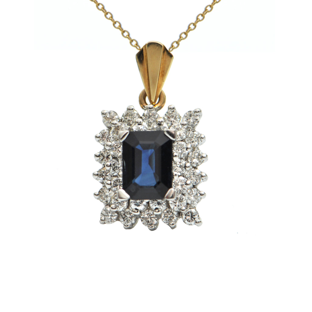 Sapphire and Diamond 14K White and Yellow Gold Pendant + Montreal Estate Jewelers