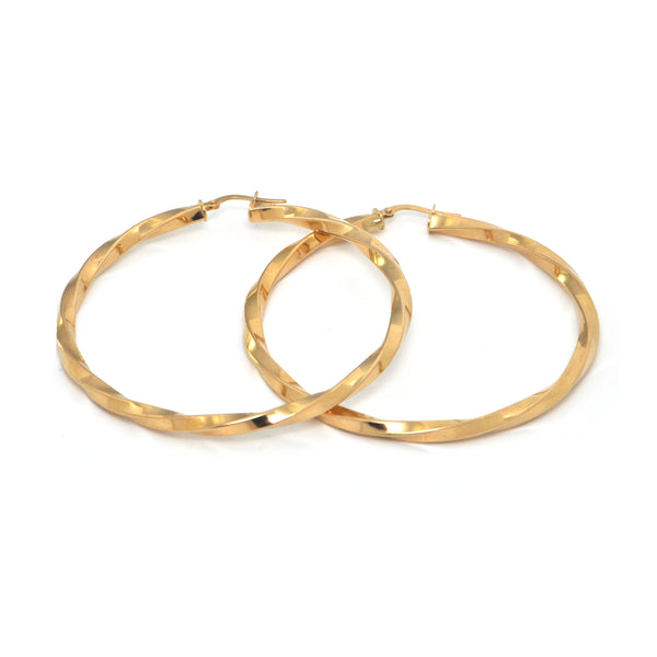Vintage 18K High Polish Yellow Gold Twisted  Hoop Earrings + Montreal Estate Jewelers