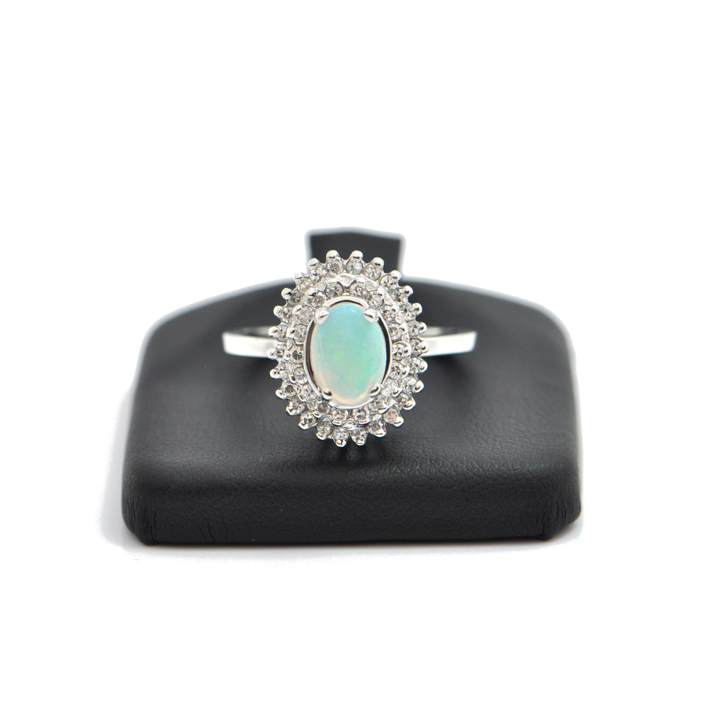 Opal and Diamond 18K White Gold Ring + Montreal Estate Jewelers