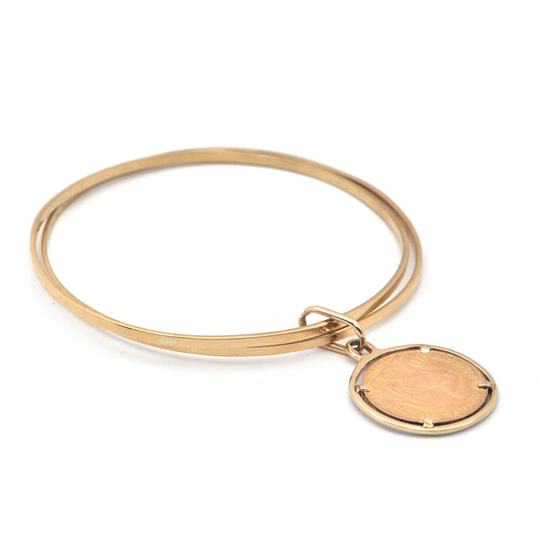 Vintage Italian 18K Yellow Gold Double Bangle with Coin Pendant Bracelet + Montreal Estate Jewelers