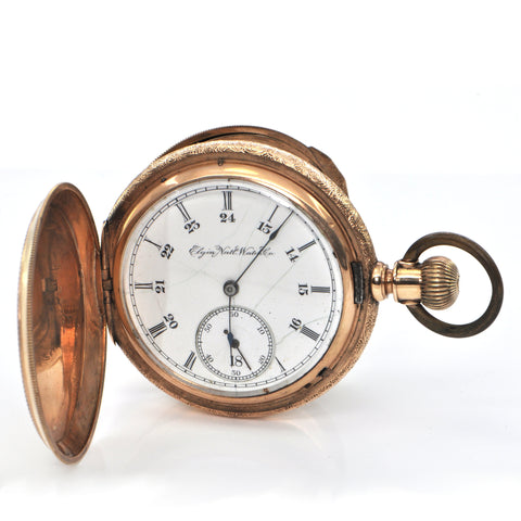 Vintage 14K Yellow Gold Double Hunter Elgin Pocket Watch C. 1893 + Montreal Estate Jewelers