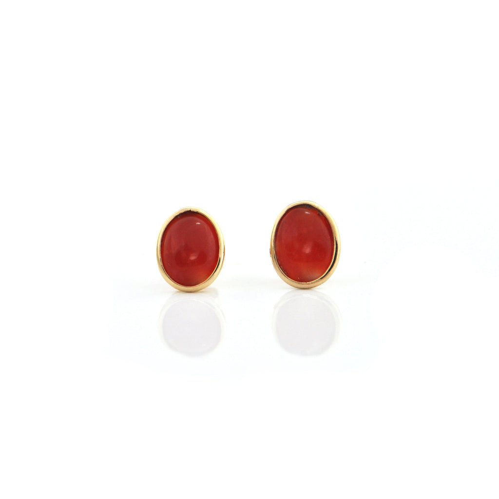 Natural Red Coral 14K Yellow Gold Stud Earrings + Montreal Estate Jewelers