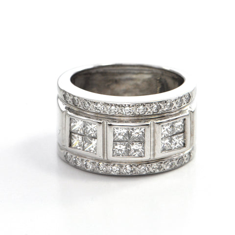 1.28 ct 14k white gold wide band , montreal estate jewellers