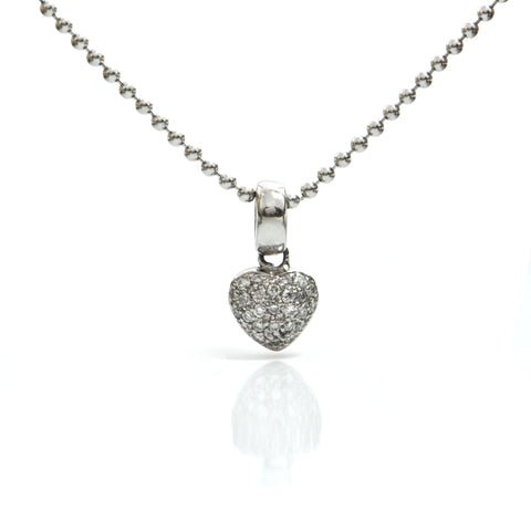Pavé Set Diamond Heart 14K White Gold Pendant + Montreal Estate Jewelers